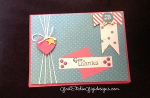 Some simple embellishments banners and candy dots makes a card in a matter of minutes