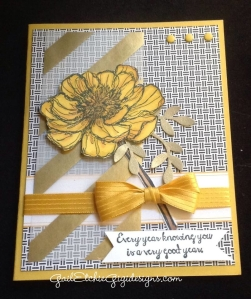 A Vellum scrap made this card and blendabilities colored flower, a great choice to give to anyone.